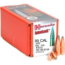 Hornady InterLock 30 Cal (308 Diameter) 180 Grain BTSP